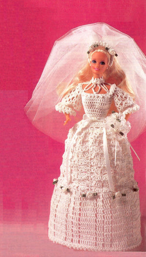 Crochet Doll's Wedding Gown Pattern,11.1/2 inch Doll, Instant Download