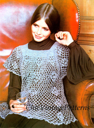 Crochet Ladies Lacy Smock, Pretty for Day or Evening, Digital pattern