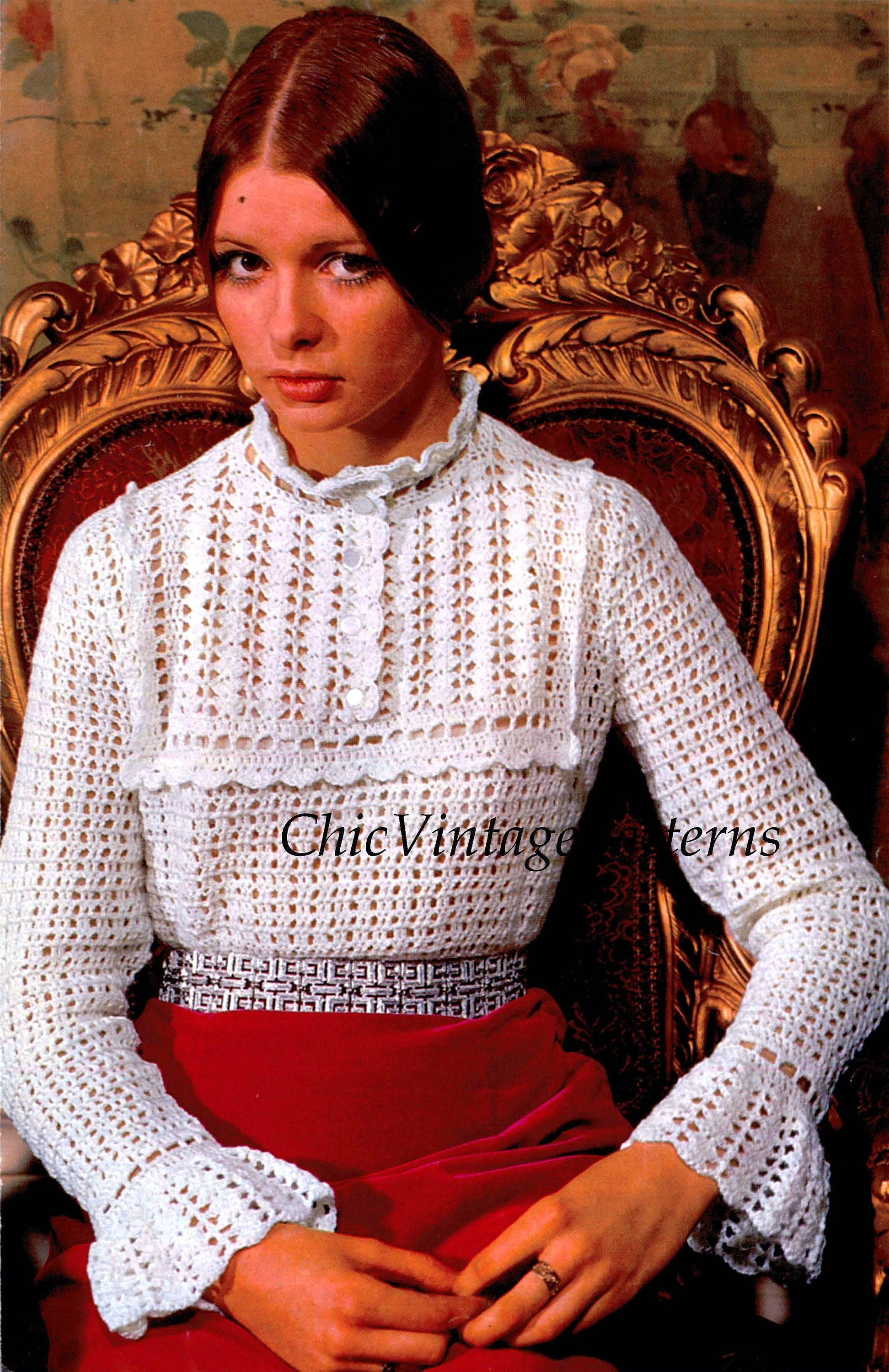 Crochet  Blouse Pattern, Ladies Edwardian Style Top, Digital Pattern