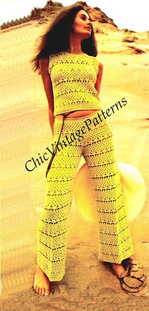 Crochet Pants and Top Pattern, Instant Download, Retro Pattern
