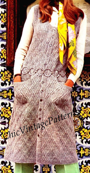Knitted Vest and Hat Pattern, Ladies Long Cardigan, Instant Download