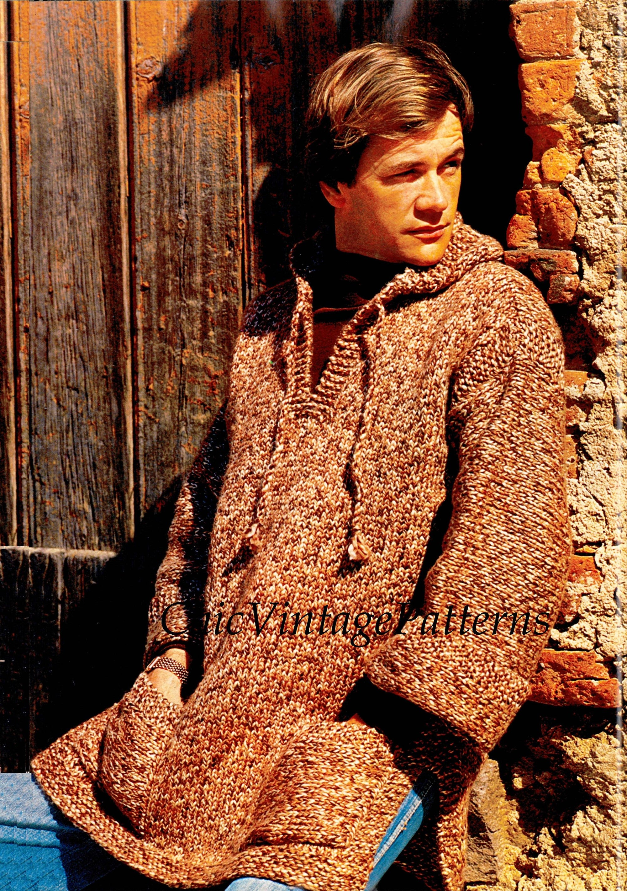 Mens Knitted Sweater, Vintage Hooded Sweater Pattern, Instant Download