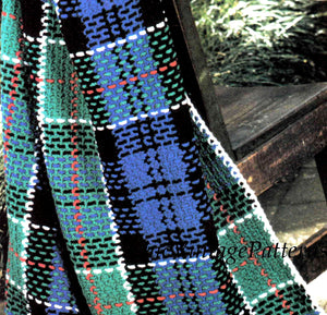 Tartan Rug Crochet Pattern, Plaid Colquhoun Afghan, Scottish Tartan, Instant Download