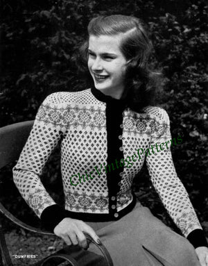 Knitted Ladies Cardigan Pattern, Fair Isle Ladies Jacket, Instant Download
