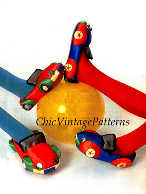 Slipper Sewing Pattern, Racing Car Children's Slippers, PDF Sewing Pattern