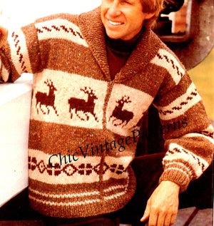 Men's Jacket Knitting Pattern, Lumberjack Jacket, PDF Knitting Pattern