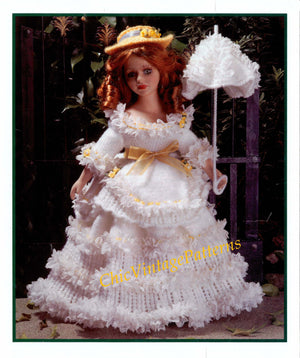 Knitted Doll's Dress Pattern, Georgian Dress, 15 inch Doll, Digital Download
