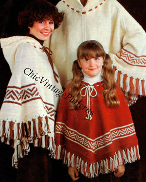 Knitted Poncho Pattern, Ladies and Childrens Fringed Poncho, PDF Knitting Pattern