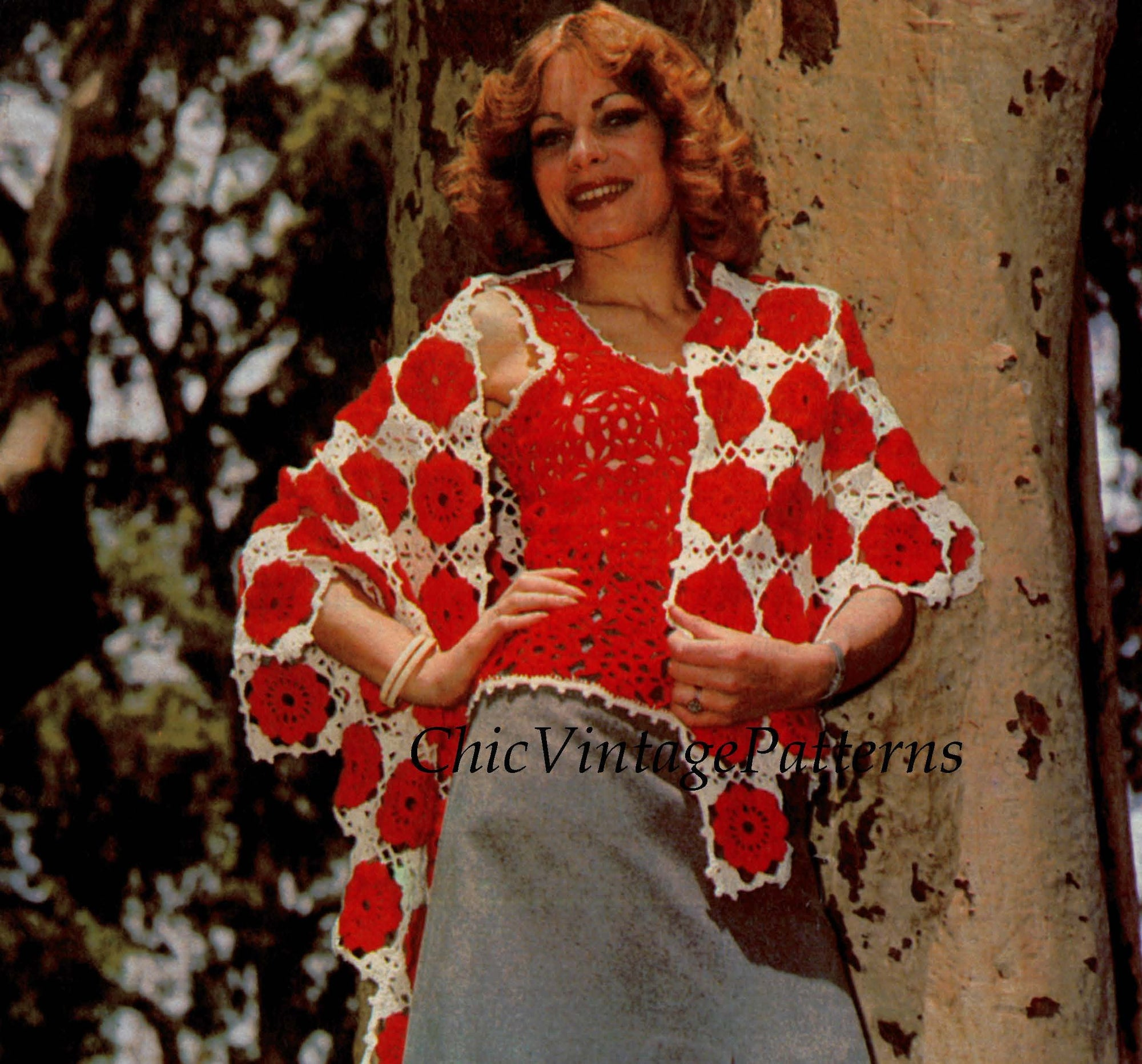 Easy-To-Crochet Ladies Top and Shawl Pattern, Granny Square, Digital Download