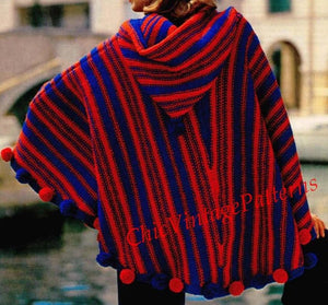 Knitted Poncho Pattern, Ladies Hooded Poncho, Instant Download