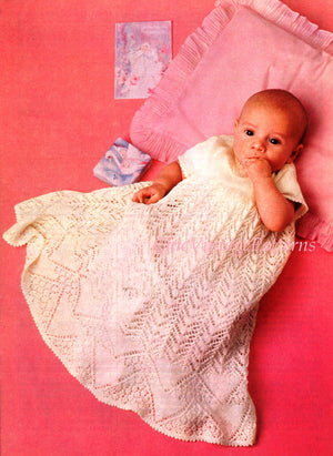 Babies Knitted Dress, Christening Robe, PDF Knitting Pattern