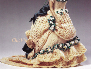 Knitted Doll's Dress Pattern, Victorian Period Dress, Instant Download