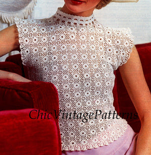 Vintage Crochet Blouse Pattern, Ladies Crochet Top, Instant Download