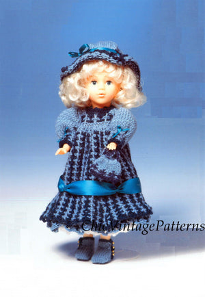 Knitted Doll's Dress Pattern, 13 inch Doll, Instant Download