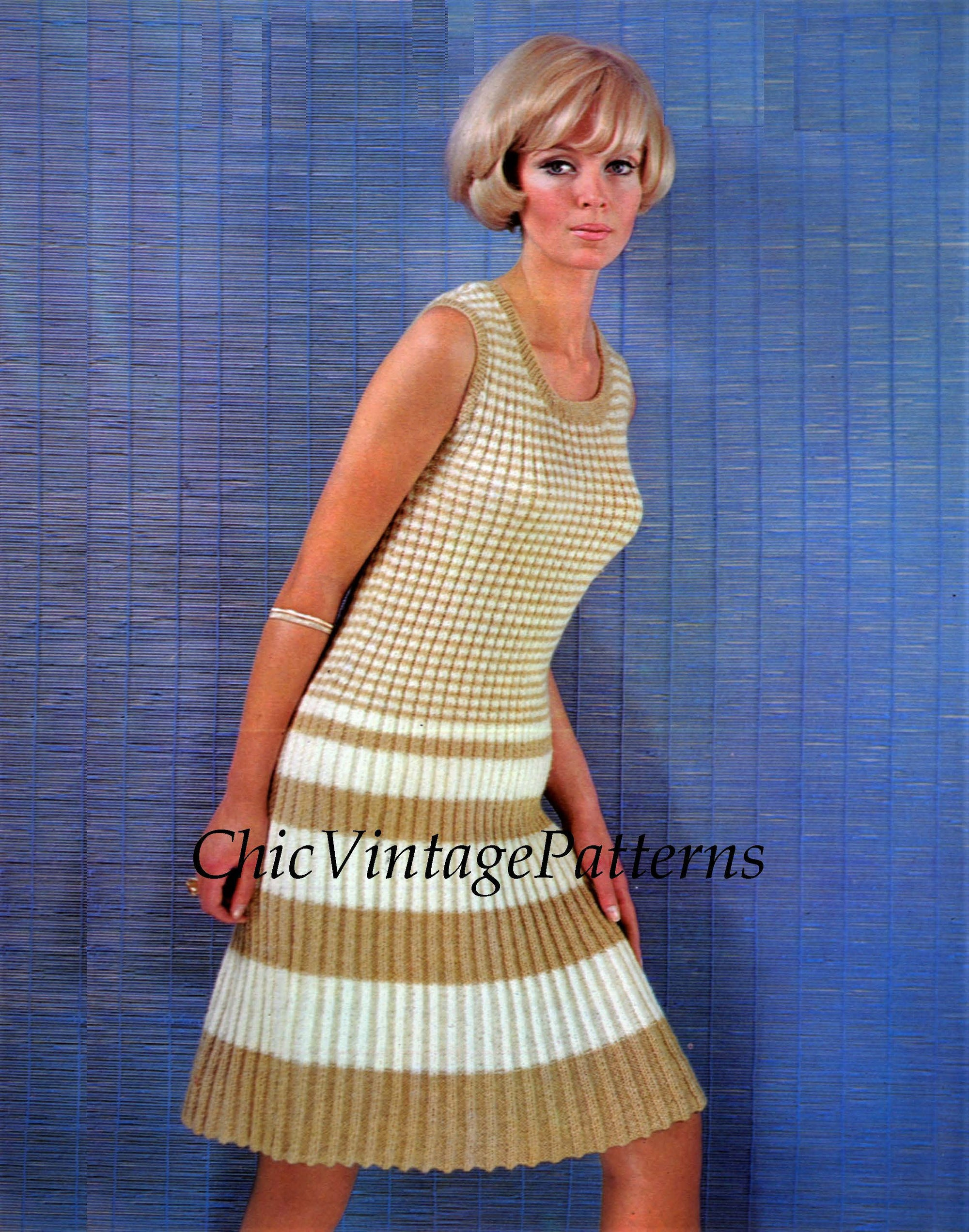 Ladies Knitted Dress Pattern, Spring, Summer Dress, Digital Pattern
