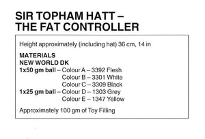 The Fat Controller Knitting Pattern, Sir Topham Hatt Soft Toy, Instant Download