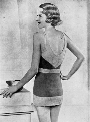 Knitted Swimsuit Pattern, 1930's One Piece Swimsuit, PDF Knitting Pattern