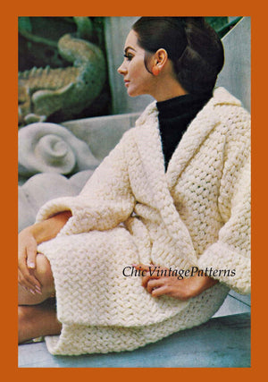 Ladies Crochet Wrap Coat Pattern, Fast and Easy, Instant Download