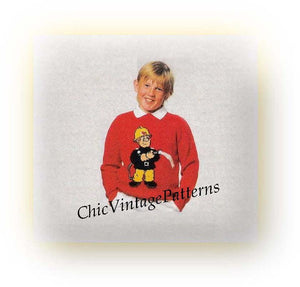 Fireman Sam Knitted Childrens / Adult Sweater Pattern, 6 Sizes, Instant Download