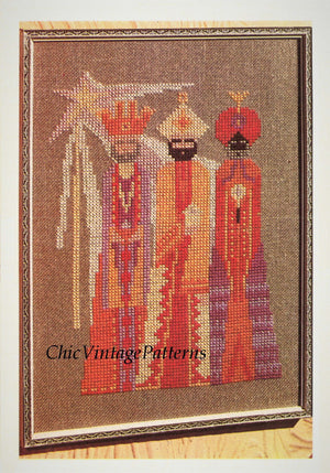 Cross Stitch Pattern, Three Wise Men Wall Hanging, Instant Download