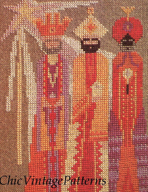 Christmas Cross Stitch Pattern, Three Wise Men Picture, Digital Download