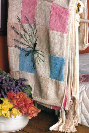 Knitted Afghan Pattern, Rug with Lavender Embroidery, Instant Download