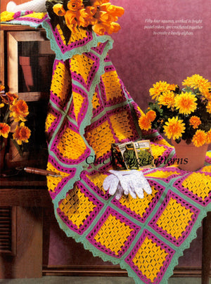 Crochet Afghan Rug Pattern, Crochet Squares Pattern, Instant Download