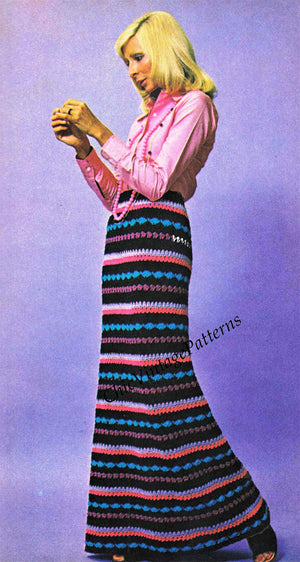 Ladies Crochet Skirt Pattern, 1970's,  Instant Download