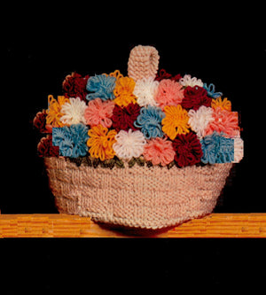 Knitted Tea Cosy Pattern, Flower Basket Cosy, PDF Knitting Pattern