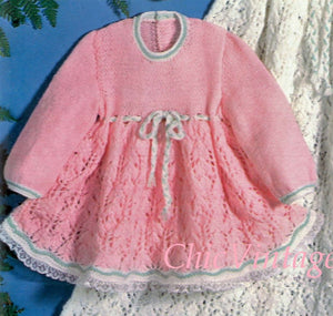 Babies Knitted Dress Pattern, Christening Robe, Instant Download