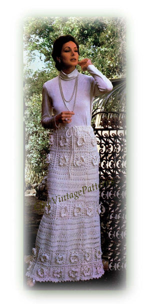 Ladies Long Skirt Crochet Pattern, 1970's Retro, Instant Download