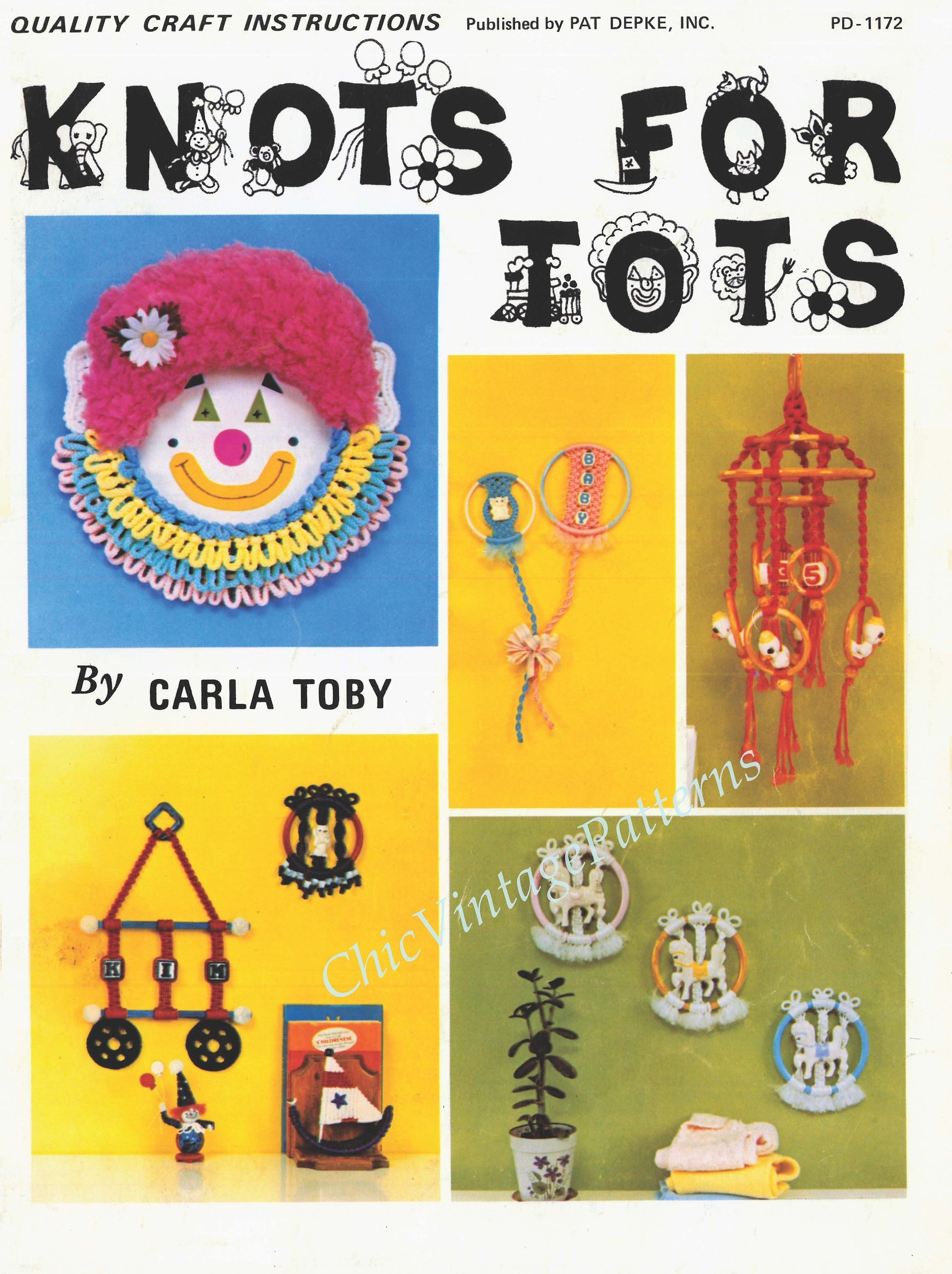Vintage Macrame Pattern Book, Knots For Tots PDF Book, Instant Download