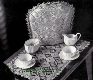 Crochet Tea Cosy and Tray Cloth Pattern, 1950's, Digital Pattern