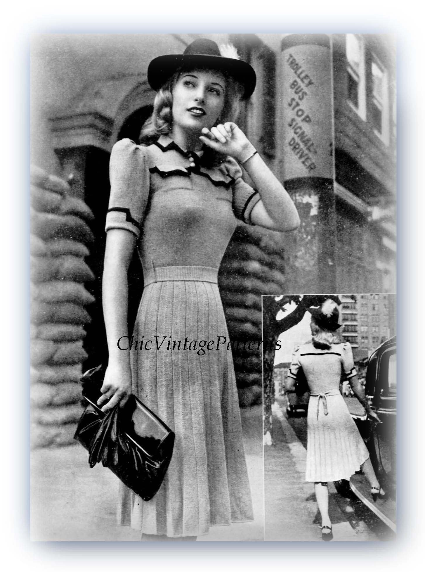1940's Knitted Dress Pattern, Tailored Dress, Instant Download