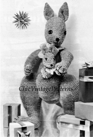 Knitted Kangaroo and Baby Pattern, Vintage Soft Toy, Instant Download