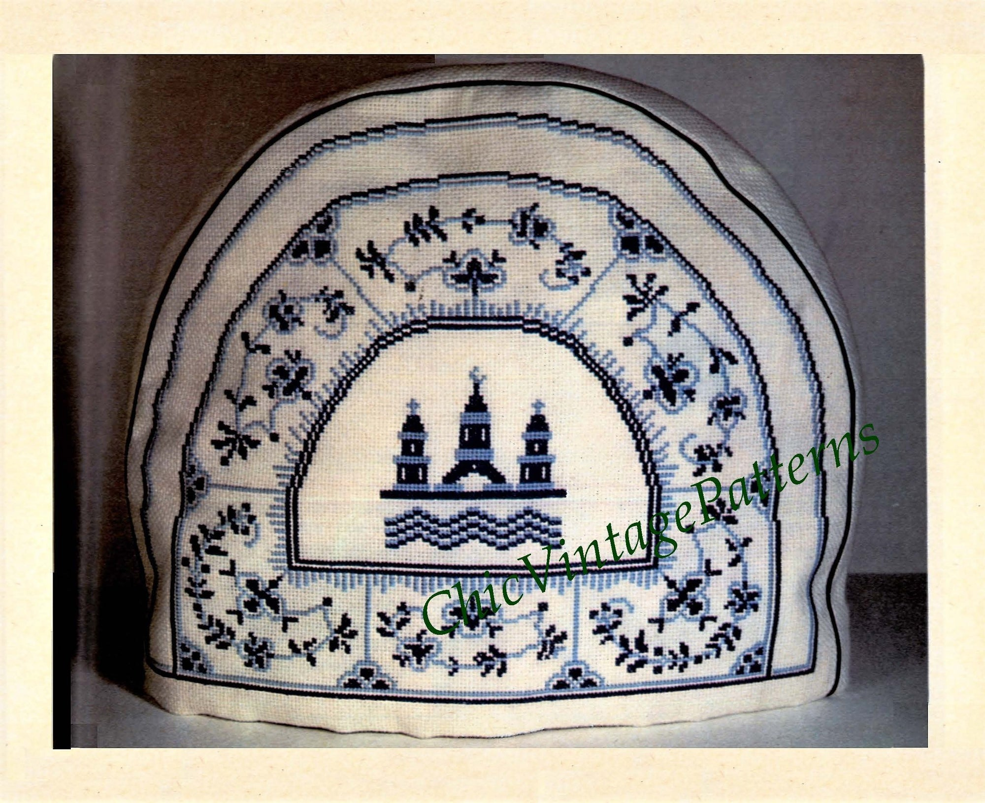 Cross Stitch Dutch Tea Cosy Pattern, Blue and White, Digital Pattern