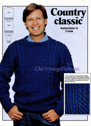 Mens Knitted Sweater, Traditional Classic Pattern, Instant Download