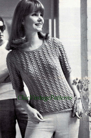 Knitted Sweater, Vintage Lace and Cable Knit, PDF Knitting Pattern
