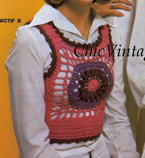 Ladies Crochet Vests, Three Styles, Instant Download Pattern
