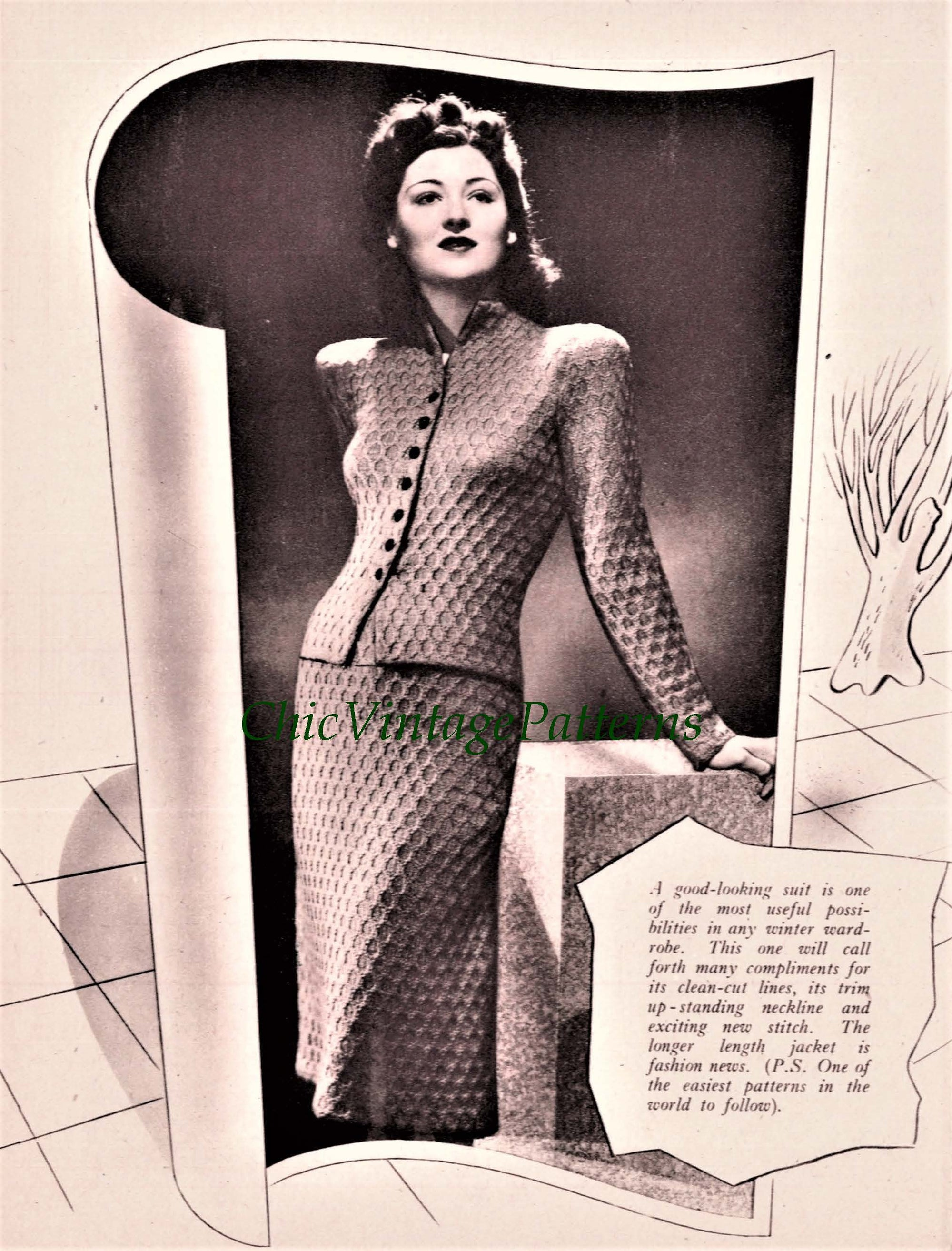 Ladies Knitted Suit Pattern, Vintage 1942 Pattern, Instant Download