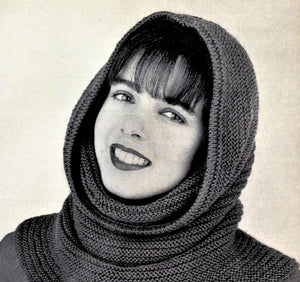Easy Knitted Hooded Cowl, Winter Hat, Instant Download