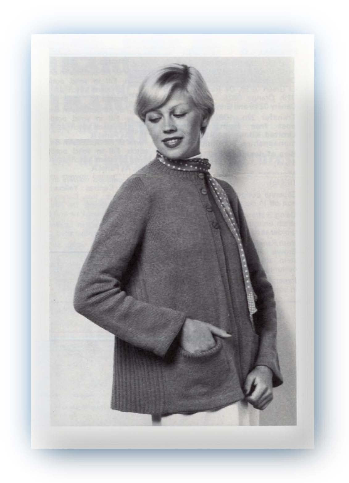 Knitted Jacket Pattern, Swing Back Coat, Instant Download