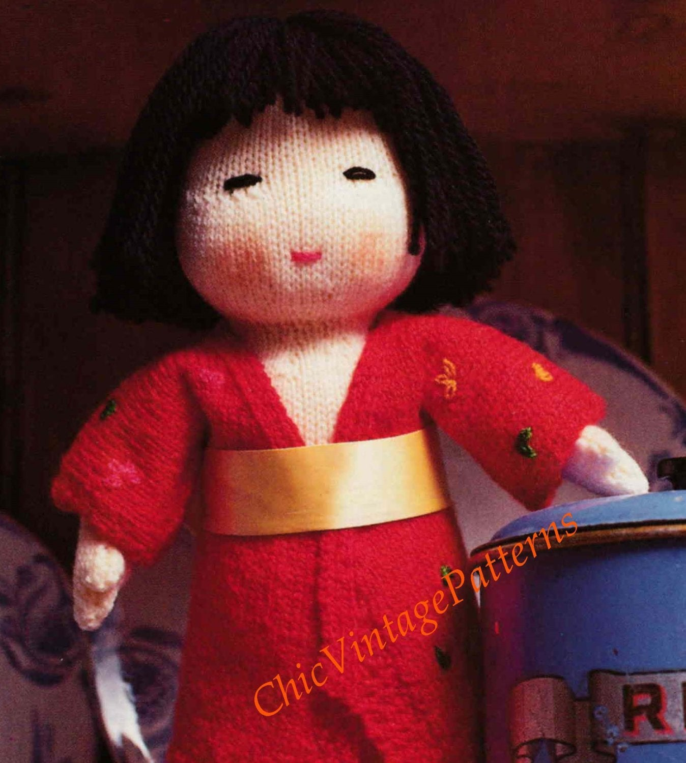Japanese Doll Knitting Pattern, Soft Toy Doll, Instant Download