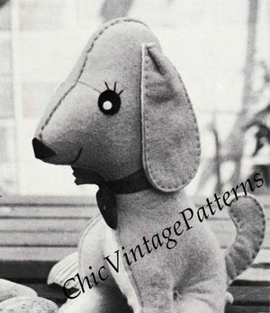 Soft Toy Puppy Sewing Pattern, 1970's Felt Toy, Instant Download