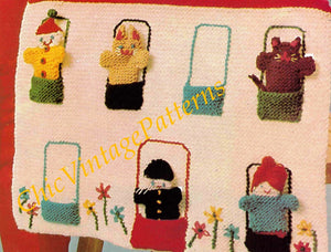 Knitted Puppet Show Pattern, Finger Puppets with House, PDF Knitting Pattern