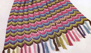 Knitted Afghan Pattern, Ripple Pattern, Attractive Throw Rug, Digital Pattern