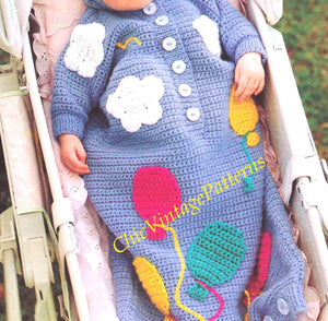 Babies Sleeping Bag Pattern, Hooded Crochet Sleeping Bag, Instant Download