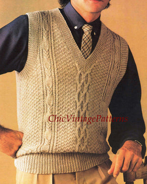 Men's Cabled Vest Pattern, Vintage Sleeveless Vest, PDF Knitting Pattern