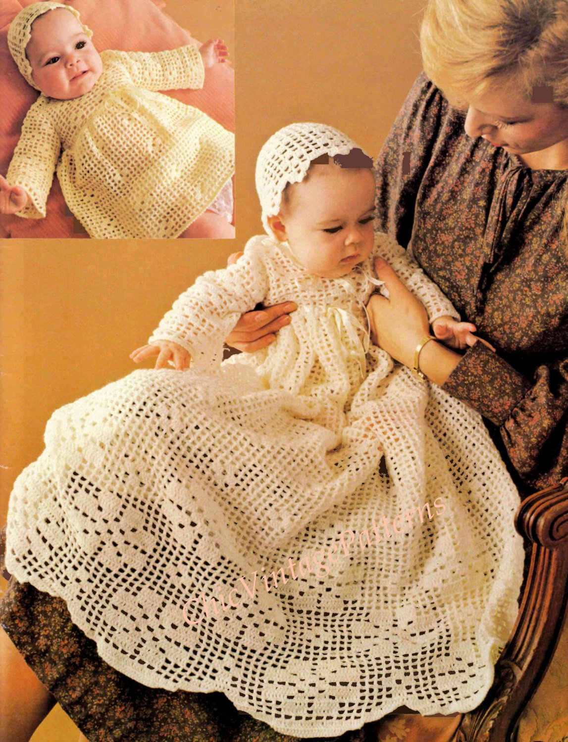Babies Crochet Dress, Christening Robe and Bonnet, Instant Download
