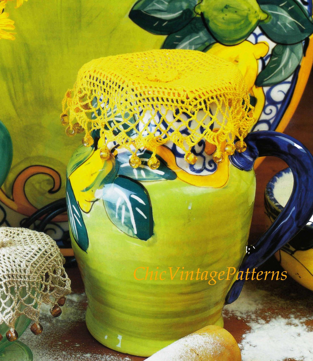 Beaded Jug Cover Pattern, Vintage Crochet Jug Covers, Instant Download